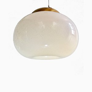 Large Pulegoso Murano Glass Pendant Lamp with Brushed Brass Frame, 1970s