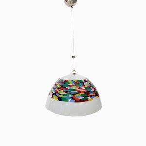 Lampe à Suspension en Verre Soufflé Blanc et en Métal Chromé par Murrina pour La Murrina
