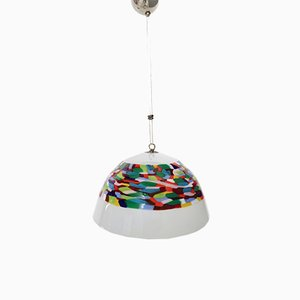 White and Colored Blown Glass and Chrome-Plated Metal Pendant Lamp by Murrina for La Murrina