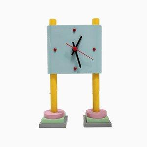 Uhr aus lackiertem Holz im Stil von Ettore Sottsass, Italien, 1980er