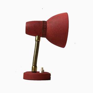 Scandinavian Pastel Red Wall Lamp in Brass & Aluminum, 1950s