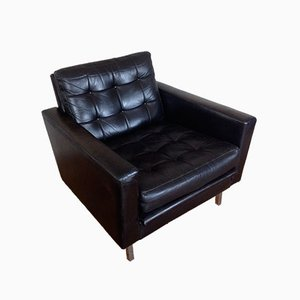Mid-Century Black Leather Club Chair
