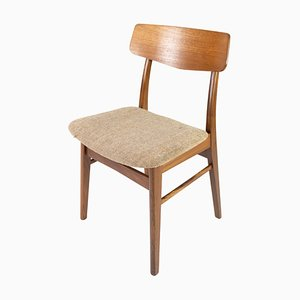 Danish Dining Room Chair in Teak and Light Fabric, 1960s