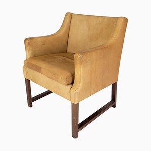 Model 3246 Lounge Chair with Light Leather by Børge Mogensen, 1960s