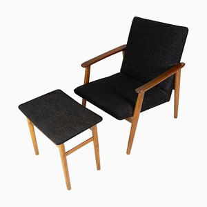 Danish Easy Chair with Stool in Teak and Dark Wool Fabric, 1960s