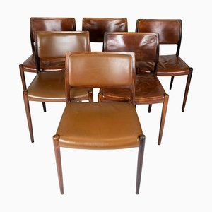 Model 80 Rosewood Dining Chairs by N.O. Møller, Set of 6