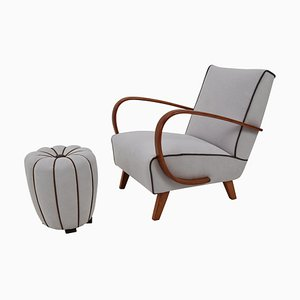 Lounge Chair and Ottoman by Jindrich Halabala, 1950s, Set of 2