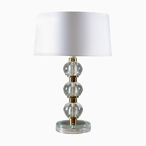 Mid-Century Scandinavian Table Lamp in Brass and Glass
