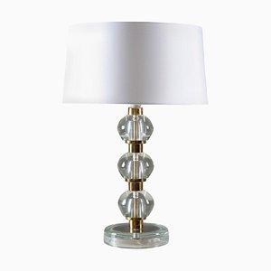Skandinavische Mid-Century Tischlampe aus Messing und Glas