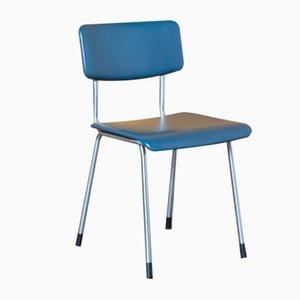 Blue & Tubular Chrome 1231 Chair from Gispen