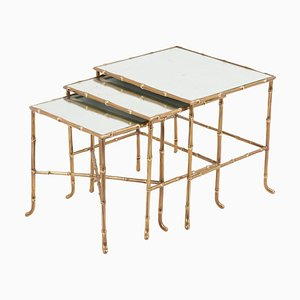 Bronze Bamboo Nesting Tables with Mirrors by Maison Baguès, France, Set of 3