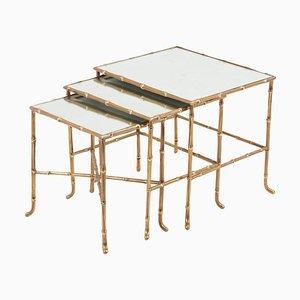 Tables Gigognes en Bronze en Bambou avec Miroirs par Maison Baguès, France, Set de 3