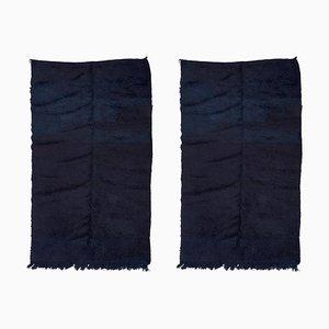 Ink-Blue Mrirt Carpets, 20th Century, Set of 2