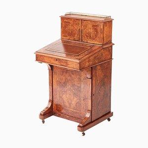 Antique Victorian Inlaid Burr Walnut Davenport