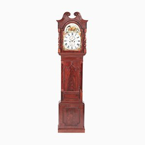 Antique Mahogany Eight Day Moonphase Grandfather Clock with Painted Face