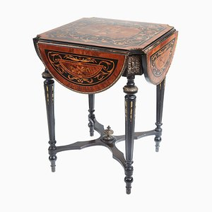 Antique French Marquetry Drop Leaf Table, 19th Century