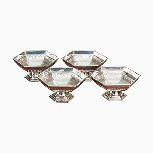 Antique Art Deco Silver Bonbon Dishes from Walker & Hall, Set of 4