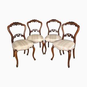 Viktorianische Esszimmerstühle aus geschnitztem Nussholz, 4er Set