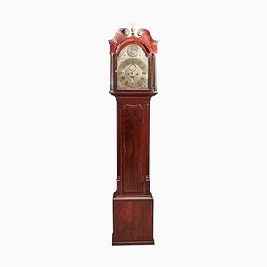 Antique Inlaid Mahogany Eight Day Grandfather Clock with Brass Face, 18th Century