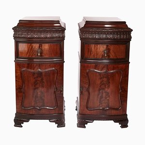 Large Antique Carved Mahogany Bow Front Cupboards, Set of 2