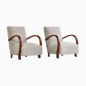 Art Deco Lounge Chairs in White Sheepskin and Stained Beech, Denmark, 1930s, Set of 2