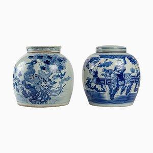 Pots Ginger en Porcelaine Bleue et Blanche, Set de 2
