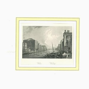 Ancient View of Venice, Original Lithograph on Paper, 19th Century