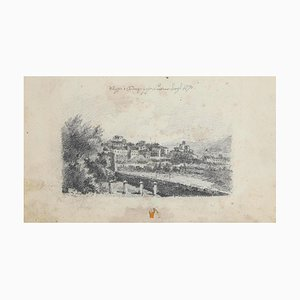 Das Stadtbild von Ardenza, Livorno, Original Bleistiftzeichnung, 1870