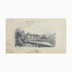 Le Paysage Urbain d'Ardenza, Livourne, Dessin au Dessin Original, 1870