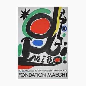 Vintage Mirò Exhibition Poster from Galerie Maeght, Offset and Lithograph, 1968