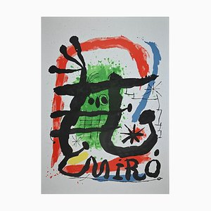 Póster de exhibición vintage con litografía de Joan Miro, años 60