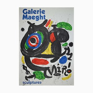 Escultura, vintage Póster After Mirò Lithograph de Galerie Maeght, años 70