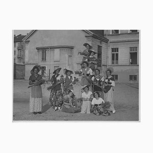 Girls with Corn Ears, Vintage Black & White Photograph, Italy, 1934