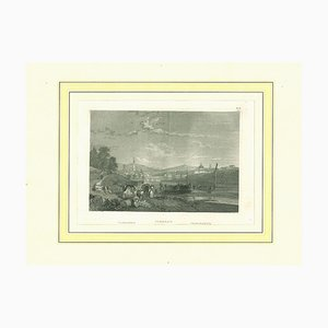 Ancient View of Florence, Original Lithograph on Paper, 19th Century