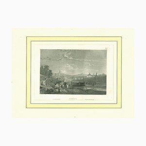Lithographie Originale de Florence, 19ème Siècle