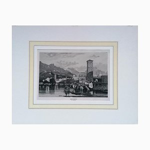View of Trient, Original Lithograph on Paper, 19th Century