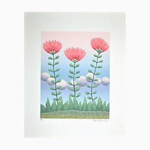 Ivan Rabuzin, Pink Flowers, Original Screen Print, 1990s