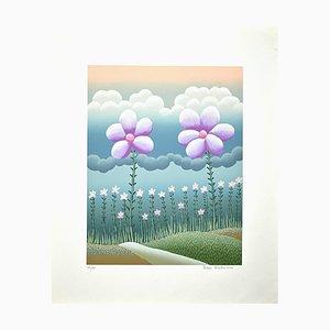 Ivan Rabuzin, Field of Flowers, Original Screen Print, 1990s
