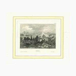 Ancient View of Brescia, Original Lithograph on Paper, 19th Century