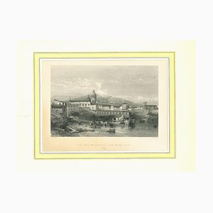 View of Catania and of the Aetna, Original Lithograph on Paper, 19th Century