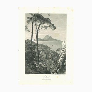 Ancient View of Capri, Original Lithograph on Paper, 19th Century