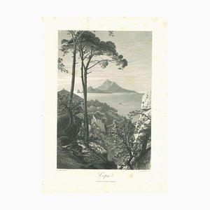 Lithographie Originale de Capri, 19ème Siècle