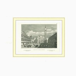 Ancient View of Piazza San Marco, Venice, Lithograph on Paper, 19th Century