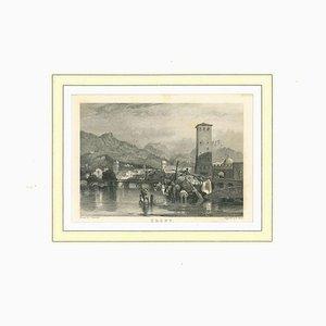 Ansicht von Trent, Originale Lithographie auf Papier, 19. Jahrhundert