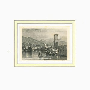 View of Trent, Original Lithograph on Paper, 19th Century