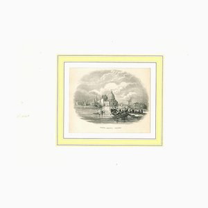 Ancient View of Santa Salute, Original Lithograph on Paper, 19th Century