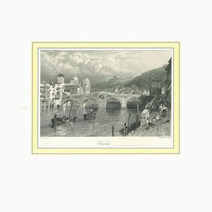 Ancient View of Verona, Original Lithograph on Paper, 19th Century