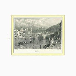 Litografia antica su carta, Verona, XIX secolo