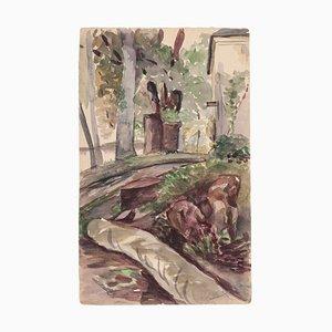 Landschaft, Original Aquarell auf Papier, Frühes 20. Jahrhundert