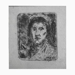 Albert Lepreux, Portrait After David, Radierung auf Papier, Frühes 20. Jahrhundert